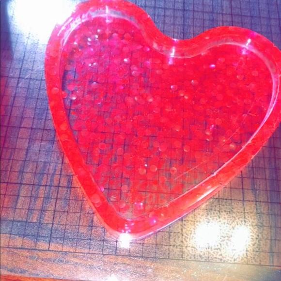 4 set of pink glitter heart custom made coasters